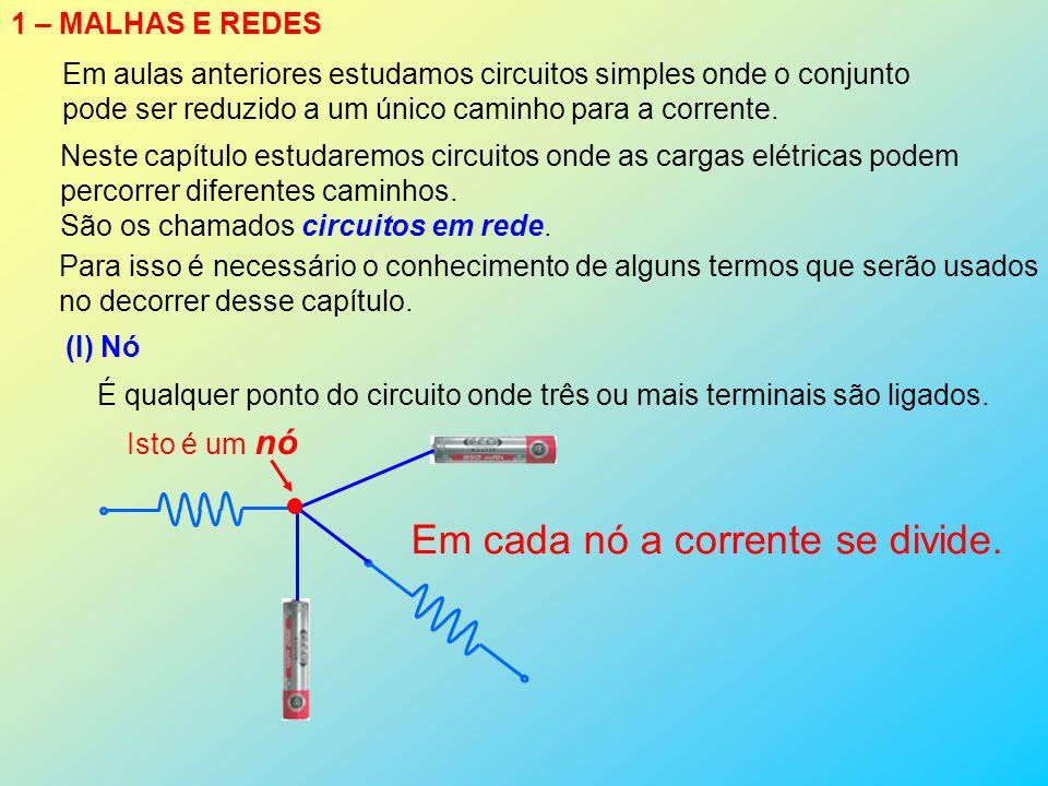 1 – MALHAS E REDES Em aulas anteriores estudamos circuitos simples onde o conjunto pode ser reduzido a um único caminho para a corrente. Para isso é n