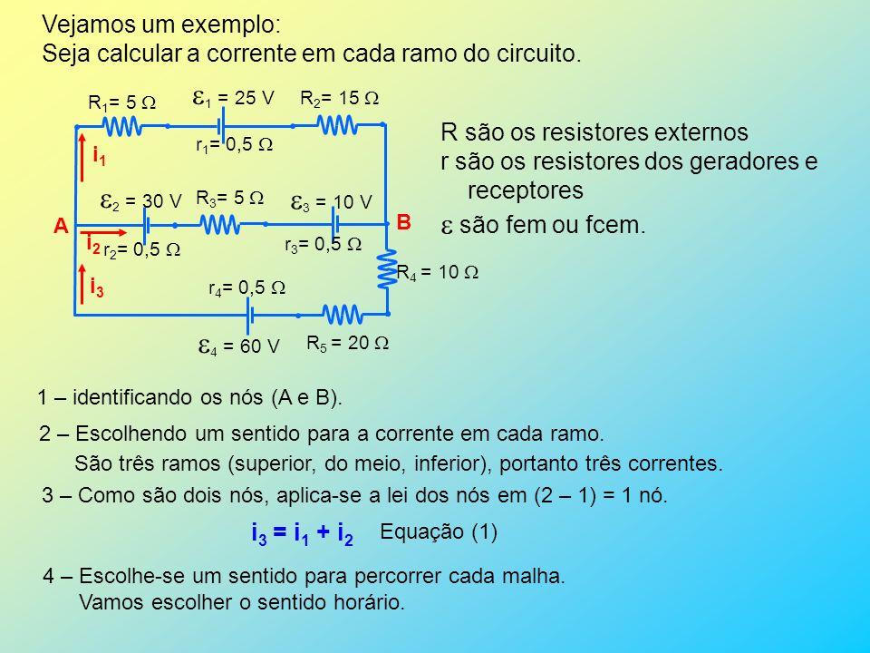 Vejamos um exemplo: Seja calcular a corrente em cada ramo do circuito. 1 = 25 V 2 = 30 V 3 = 10 V 4 = 60 V r 1 = 0,5 r 2 = 0,5 r 3 = 0,5 r 4 = 0,5 R 1