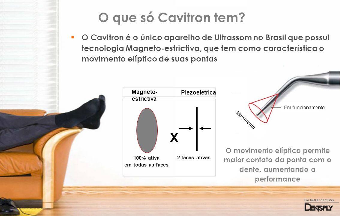 O que só Cavitron tem? O Cavitron é o único aparelho de Ultrassom no Brasil que possui tecnologia Magneto-estrictiva, que tem como característica o mo