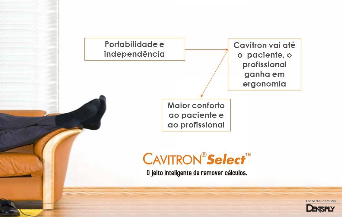 Portabilidade e independência Cavitron vai até o paciente, o profissional ganha em ergonomia Maior conforto ao paciente e ao profissional