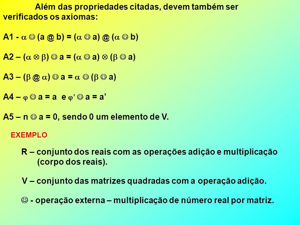 Além das propriedades citadas, devem também ser verificados os axiomas: A1 - (a @ b) = ( a) @ ( b) A2 – ( ) a = ( a) ( a) A3 – ( @ ) a = ( a) A4 – a =