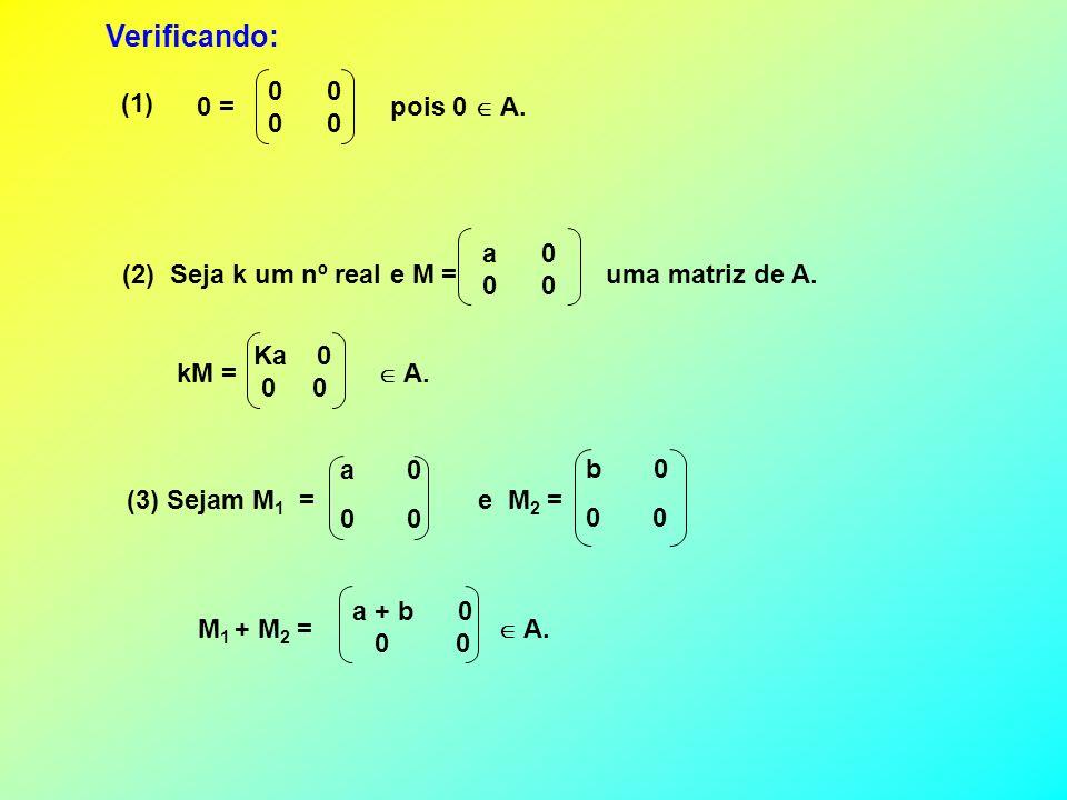 0 (1) 0 = pois 0 A. (2) Seja k um nº real e M = uma matriz de A. a 0 0 Verificando: kM = A. Ka 0 0 0 (3) Sejam M 1 = e M 2 = a 0 0 b 0 0 M 1 + M 2 = A