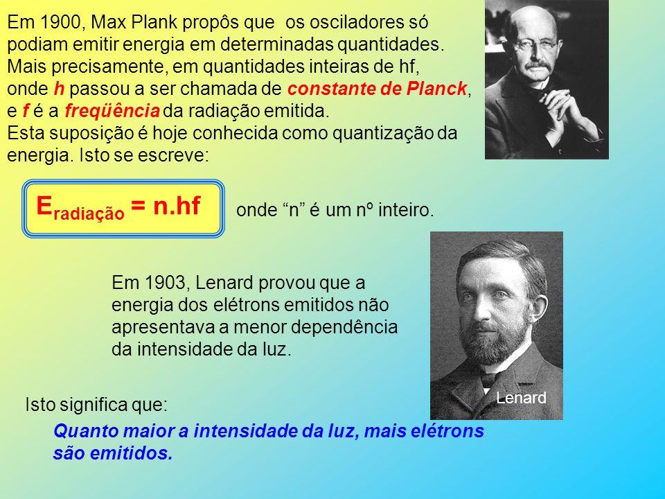 Em 1888, Thomson (Lord Kelvin) afirmou que o efeito fotoelétrico consistia na emissão de elétrons.