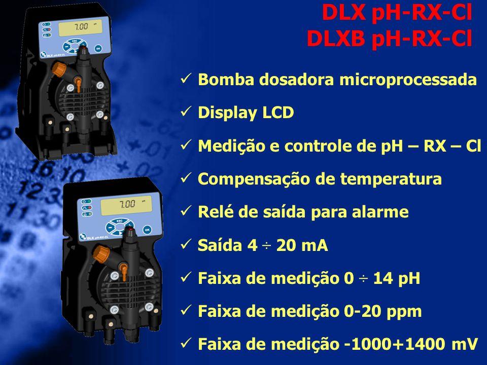 Bomba dosadora microprocessada Display LCD Medição e controle de pH – RX – Cl Compensação de temperatura Relé de saída para alarme Saída 4 ÷ 20 mA Fai