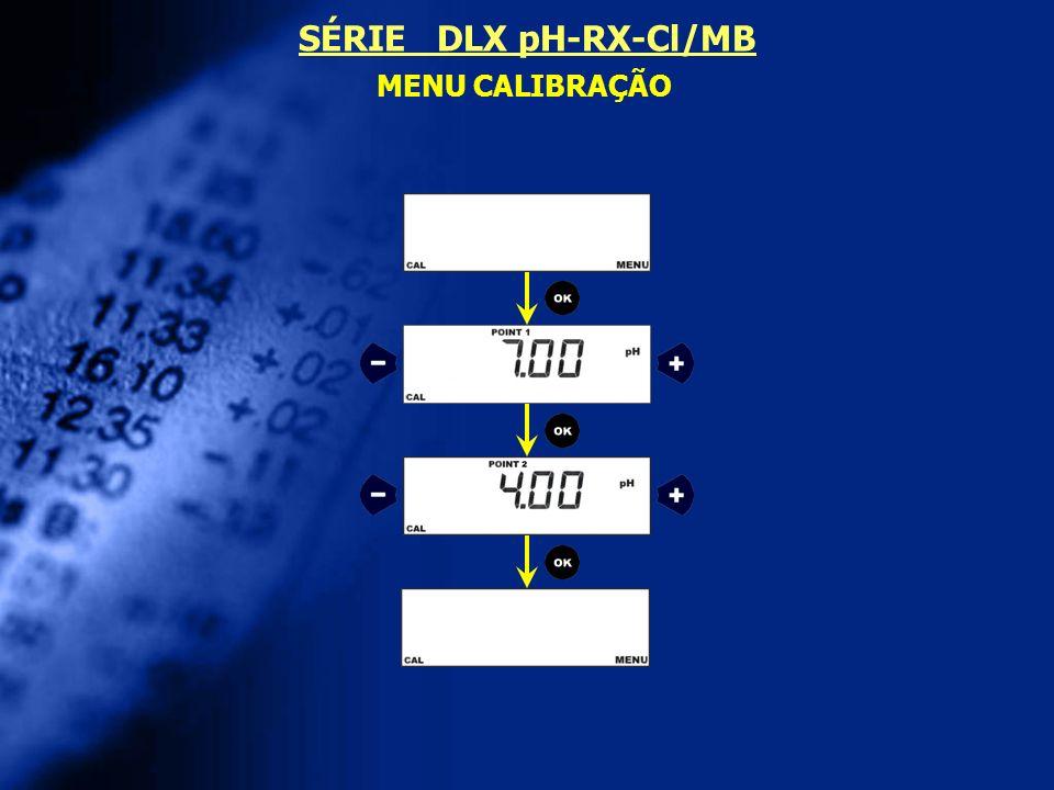 MENU CALIBRAÇÃO SÉRIE DLX pH-RX-Cl/MB