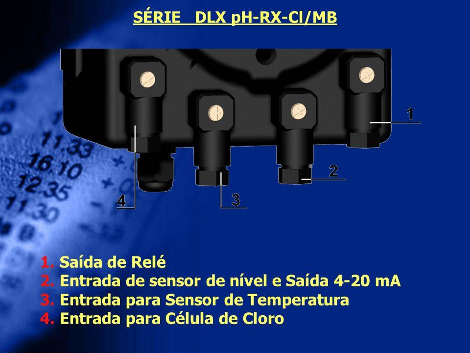 SÉRIE DLX pH-RX-Cl/MB 1. Saída de Relé 2. Entrada de sensor de nível e Saída 4-20 mA 3. Entrada para Sensor de Temperatura 4. Entrada para Célula de C