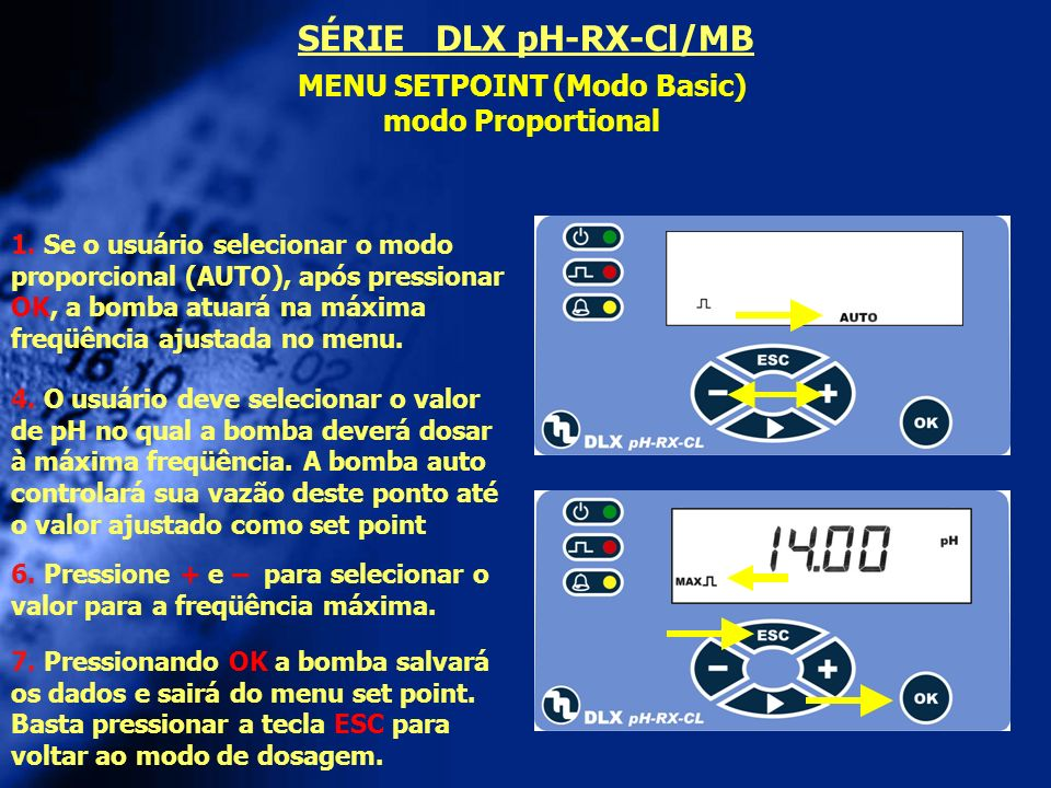 MENU SETPOINT (Modo Basic) modo Proportional 4. O usuário deve selecionar o valor de pH no qual a bomba deverá dosar à máxima freqüência. A bomba auto