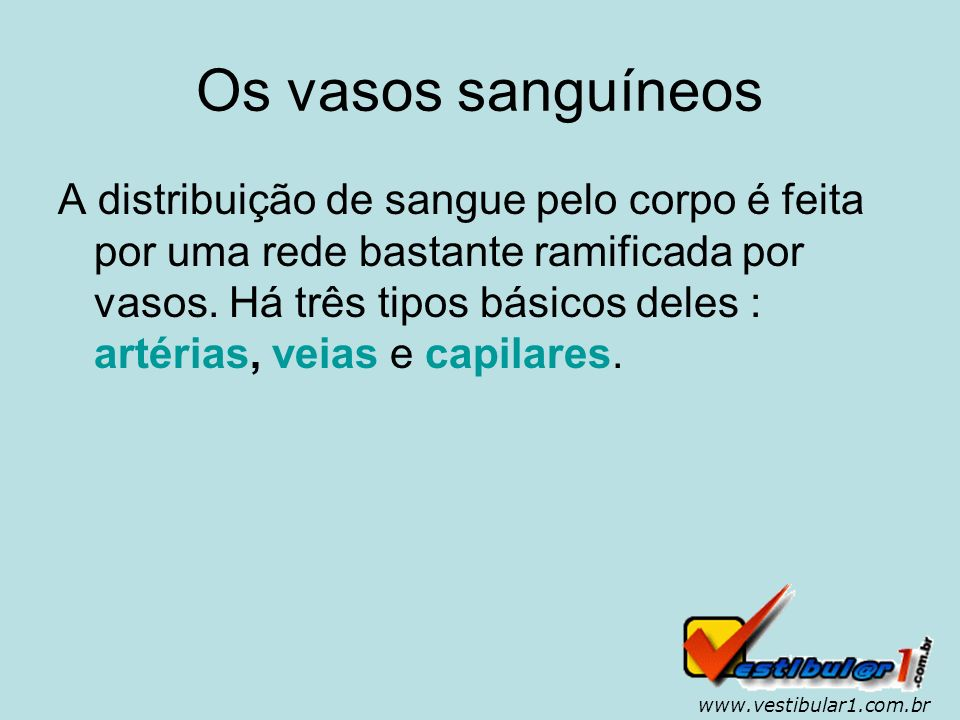 www.vestibular1.com.br Artérias As artérias são vasos que conduzem o sangue do coração para os órgãos e os tecidos.