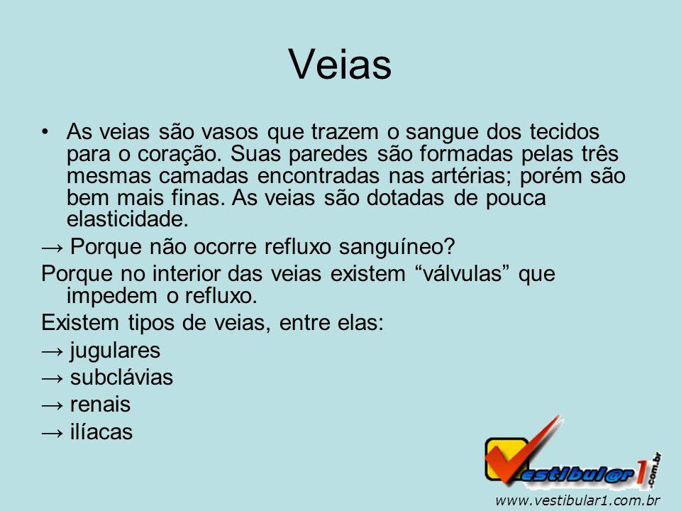 www.vestibular1.com.br Capilares Os capilares são ramificações muito finas de arteríolas e vênulas.