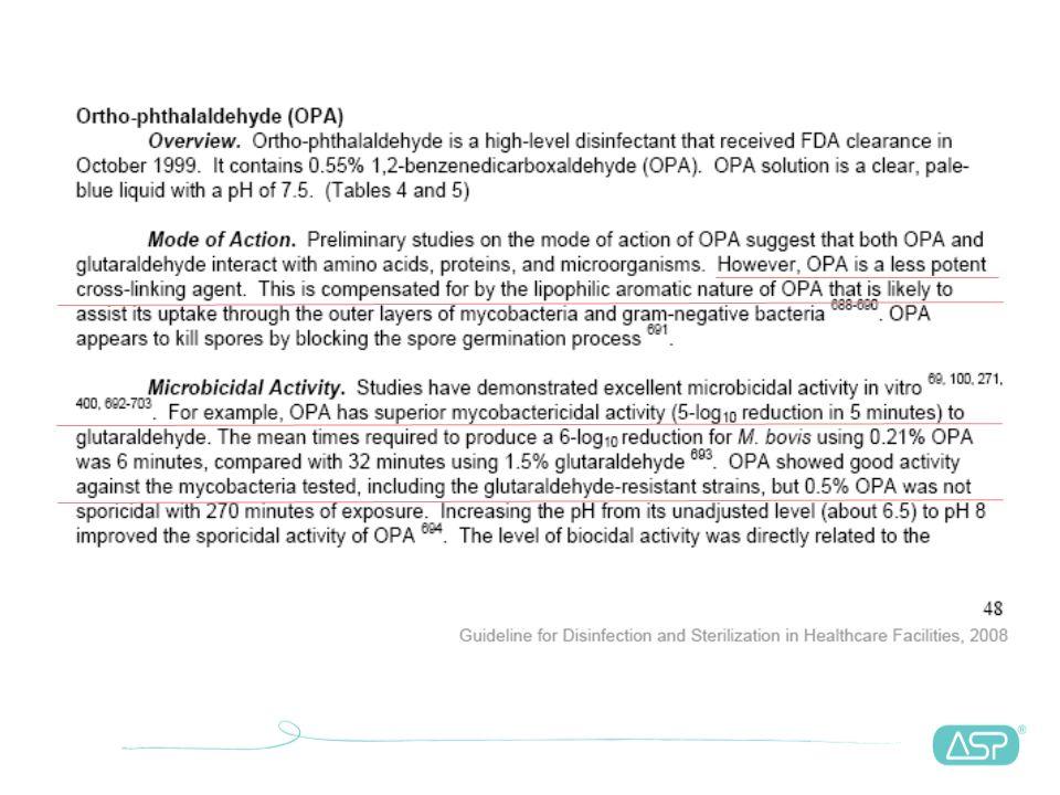Protocolos e resultados - micobactéria -7 -6 -5 -4 -3 -2 0 01020304050 T min. Log - redução CIDEX* (BCG) (CE) OPA (BCG) (CE) OPA (BCG)(FDA) Linear (OP