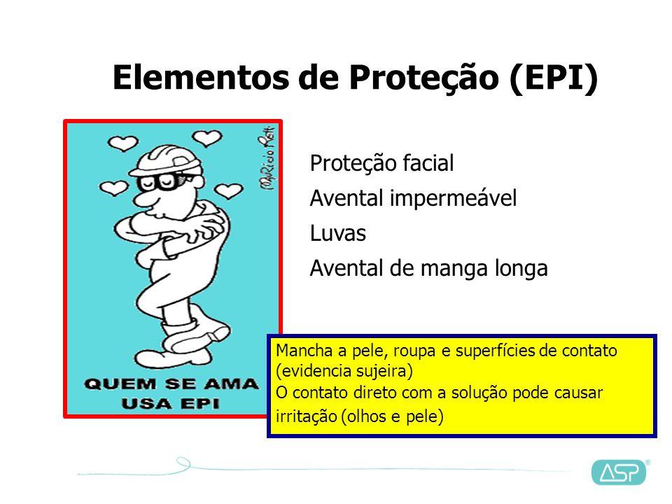 Recomendações – Proteção individual = igual a outros desinfetantes (inclusive área física) Luvas de borracha de látex (duplas ou troca a cada 15 minut