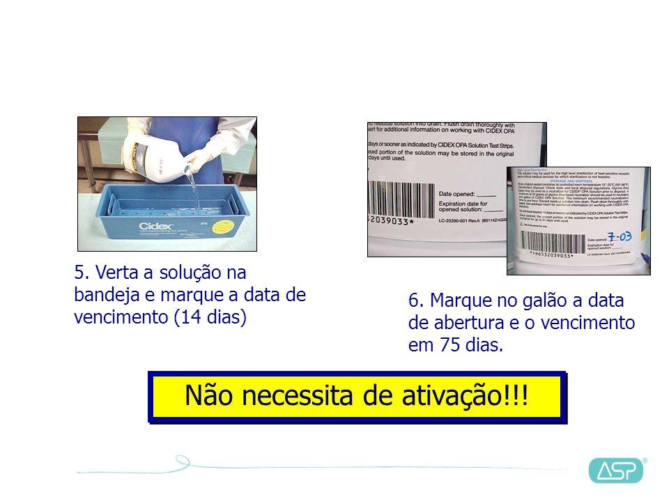 1.Leia as instruções de uso2. Verifique o vencimento 3. Verifique a integridade do selo metálico4. Retire o selo metálico