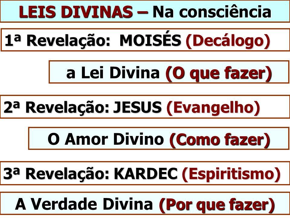LEIS DIVINAS – Na consciência 1ª Revelação: MOISÉS (Decálogo) 2ª Revelação: JESUS (Evangelho) a Lei Divina (O que fazer) 3ª Revelação: KARDEC (Espiritismo) O Amor Divino (Como fazer) A Verdade Divina (Por que fazer)