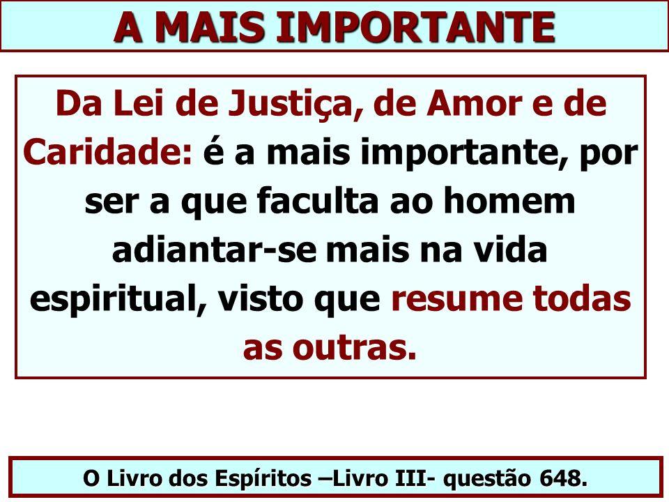 A MAIS IMPORTANTE Da Lei de Justiça, de Amor e de Caridade: é a mais importante, por ser a que faculta ao homem adiantar-se mais na vida espiritual, visto que resume todas as outras.