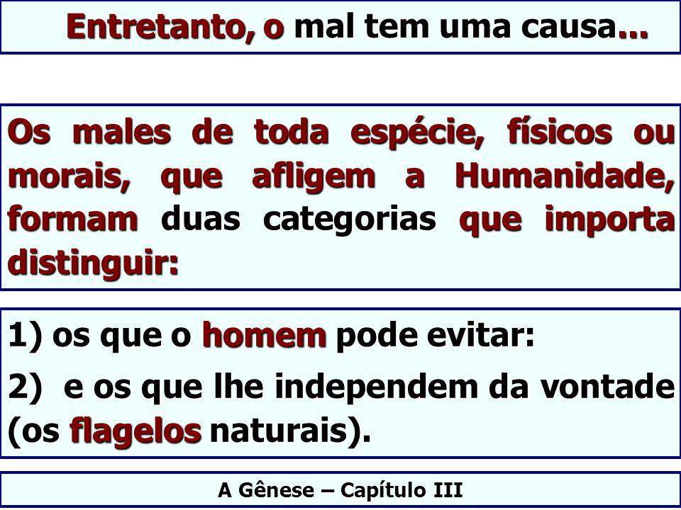 Os males de toda espécie, físicos ou morais, que afligem a Humanidade, formam duas categorias que importa distinguir: A Gênese – Capítulo III 1) os qu