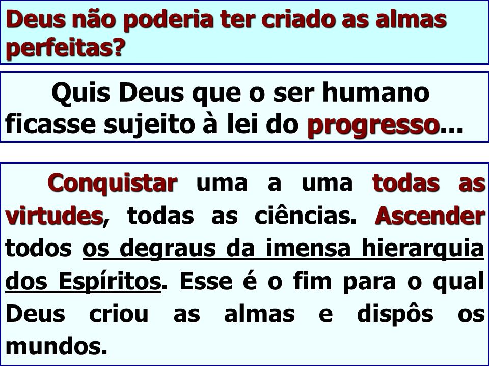 Quis Deus que o ser humano ficasse sujeito à lei do progresso... Quis Deus que o ser humano ficasse sujeito à lei do progresso... Conquistar uma a uma