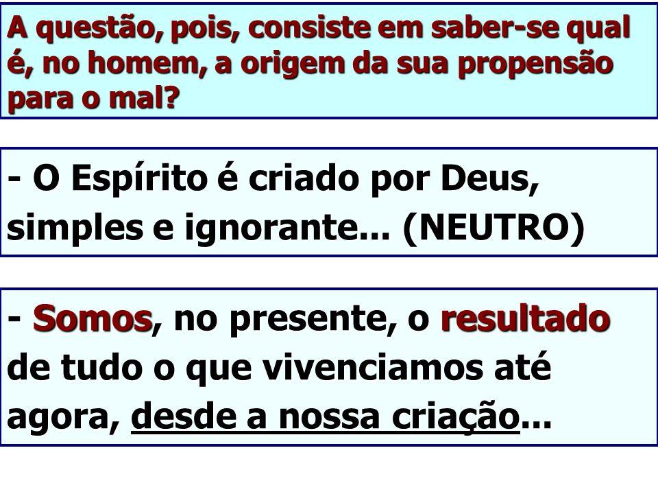 A questão, pois, consiste em saber-se qual é, no homem, a origem da sua propensão para o mal? - O Espírito é criado por Deus, simples e ignorante... (
