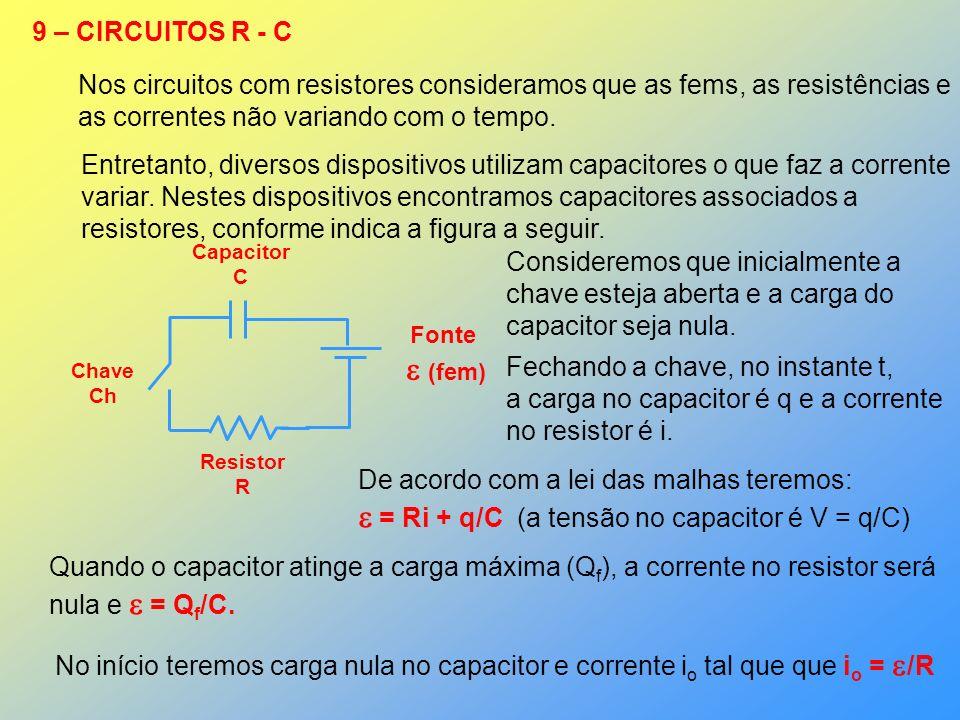 9 – CIRCUITOS R - C Nos circuitos com resistores consideramos que as fems, as resistências e as correntes não variando com o tempo. Entretanto, divers