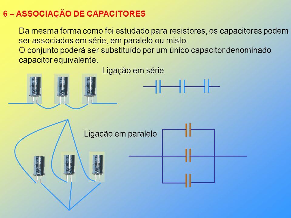6 – ASSOCIAÇÃO DE CAPACITORES Da mesma forma como foi estudado para resistores, os capacitores podem ser associados em série, em paralelo ou misto. O