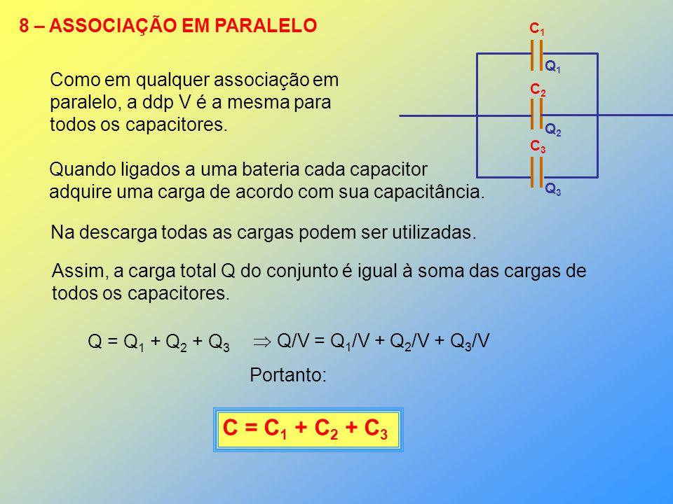 8 – ASSOCIAÇÃO EM PARALELO C1C1 C2C2 C3C3 Q1Q1 Q2Q2 Q3Q3 Como em qualquer associação em paralelo, a ddp V é a mesma para todos os capacitores. Quando
