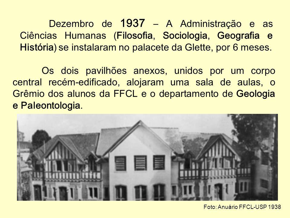 O primeiro prédio próprio da FFCL-USP 1937 – O interventor federal no estado de São Paulo, Cardoso de Melo Neto, comprou da Companhia de Seguros Sul A