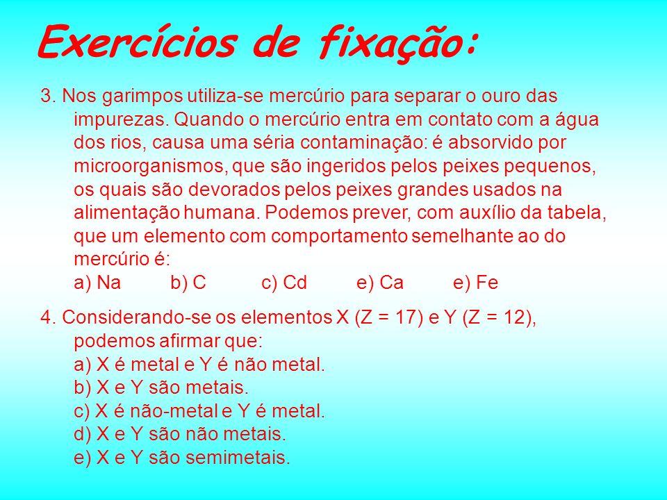Exercícios de fixação: 1. Na classificação periódica, o elemento químico de configuração 1s 2 2s 2 3s 2 3p 6 3d 10 4s 2 4p 3 está localizado na famíli