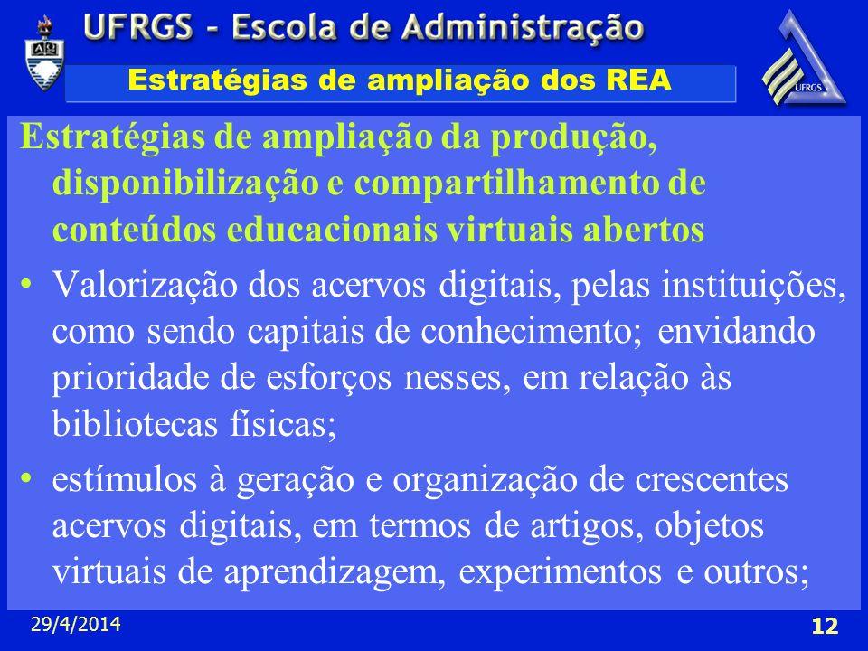 29/4/2014 12 Estratégias de ampliação dos REA Estratégias de ampliação da produção, disponibilização e compartilhamento de conteúdos educacionais virt