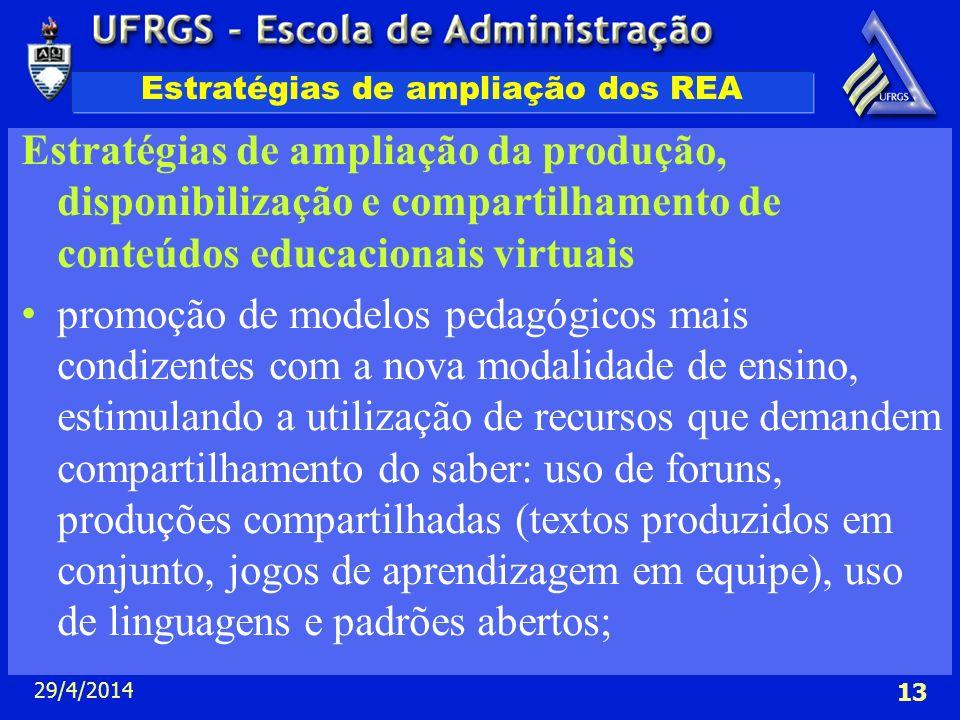 29/4/2014 13 Estratégias de ampliação dos REA Estratégias de ampliação da produção, disponibilização e compartilhamento de conteúdos educacionais virt
