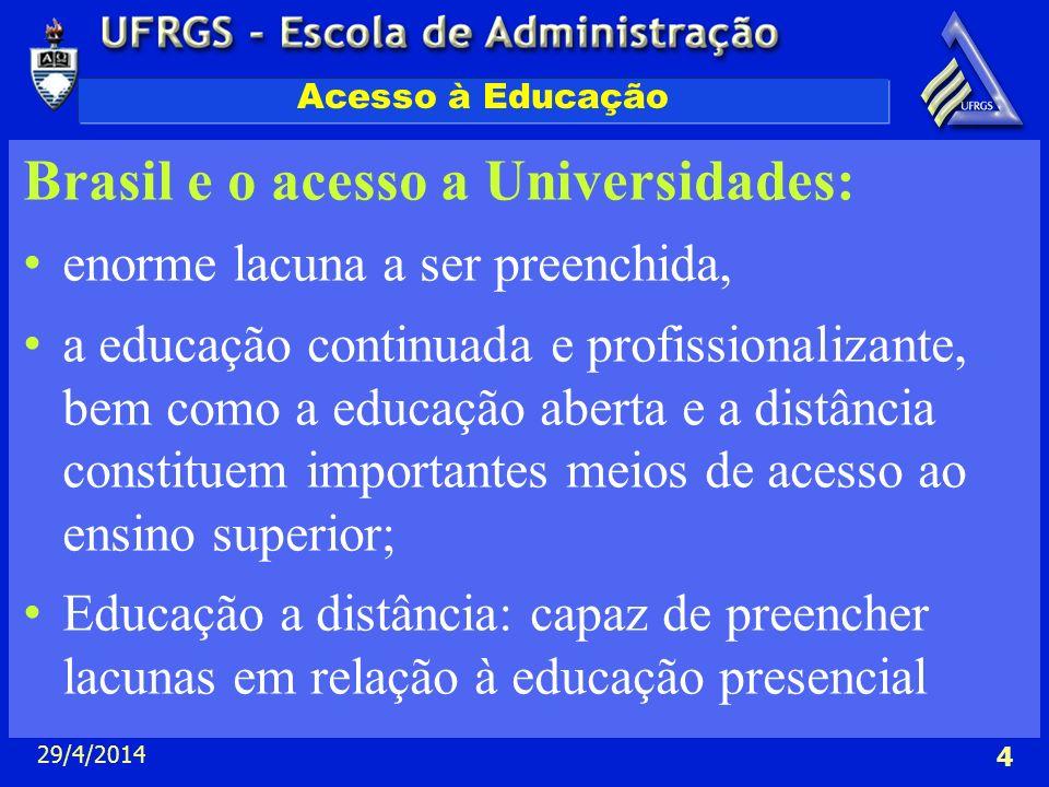 29/4/2014 4 Acesso à Educação Brasil e o acesso a Universidades: enorme lacuna a ser preenchida, a educação continuada e profissionalizante, bem como