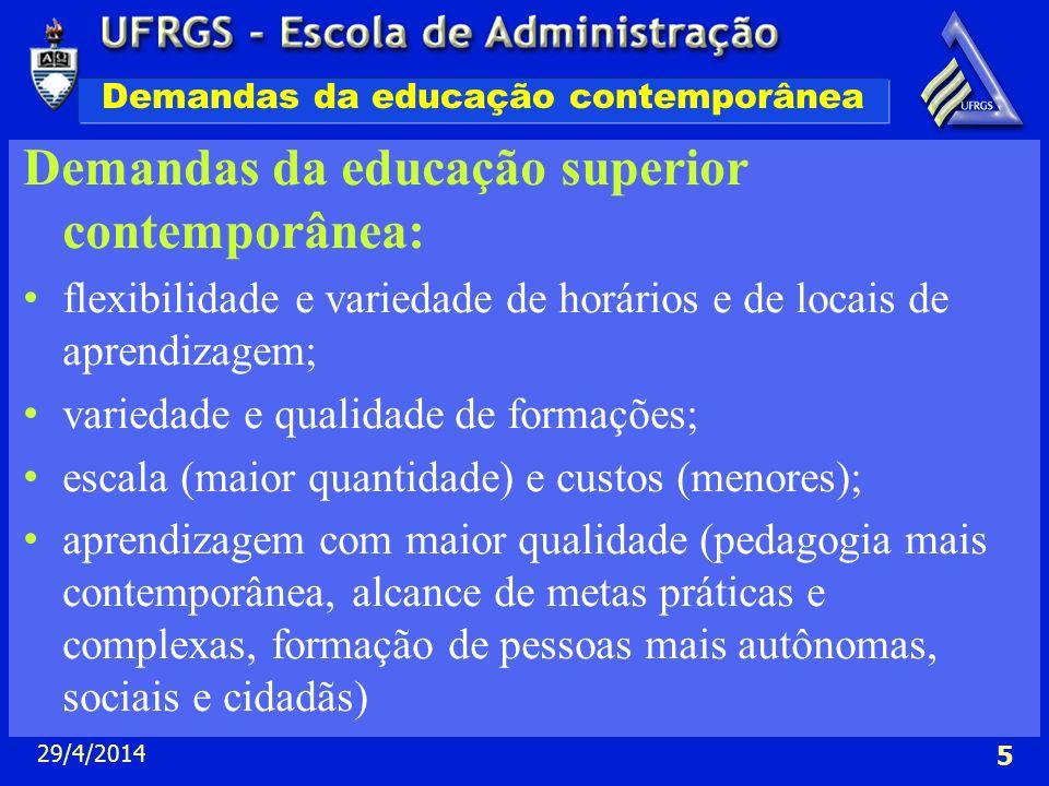 29/4/2014 5 Demandas da educação contemporânea Demandas da educação superior contemporânea: flexibilidade e variedade de horários e de locais de apren