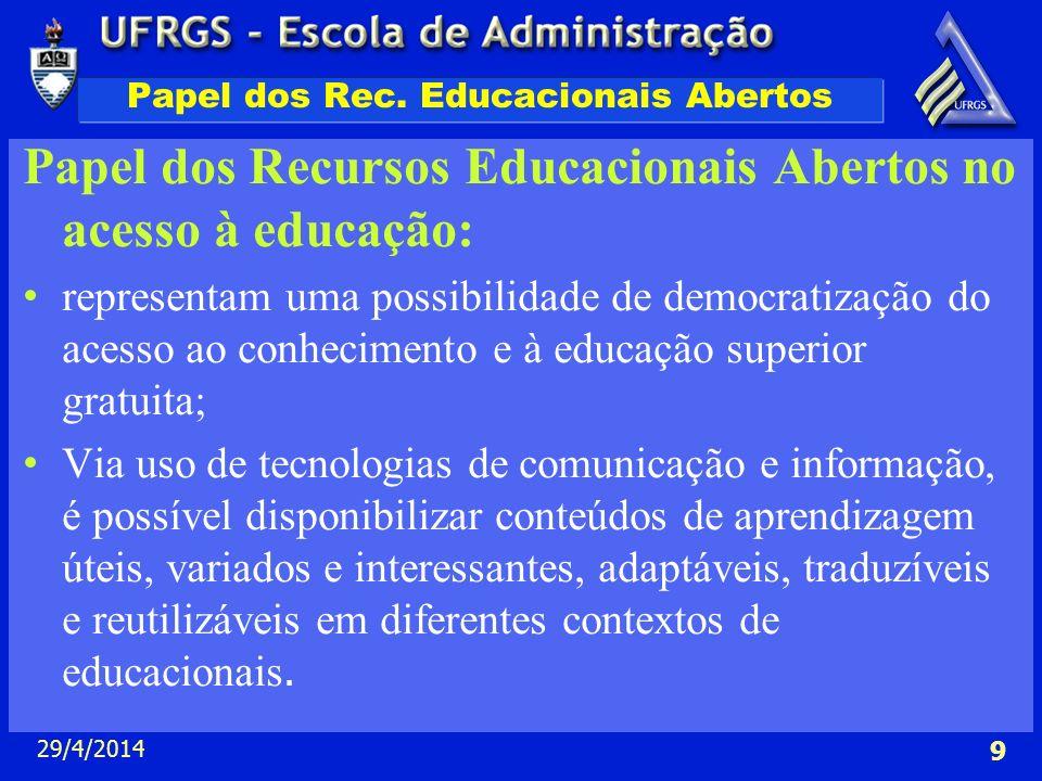 29/4/2014 9 Papel dos Rec. Educacionais Abertos Papel dos Recursos Educacionais Abertos no acesso à educação: representam uma possibilidade de democra