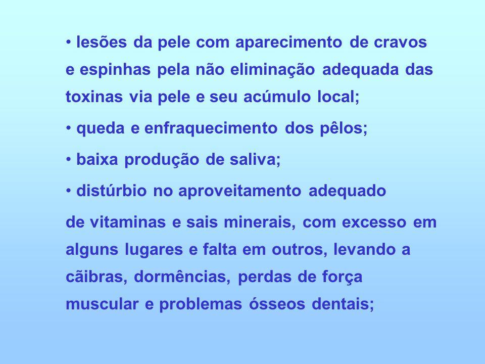 lesões da pele com aparecimento de cravos e espinhas pela não eliminação adequada das toxinas via pele e seu acúmulo local; queda e enfraquecimento do