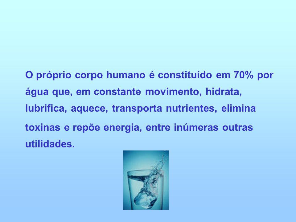 O próprio corpo humano é constituído em 70% por água que, em constante movimento, hidrata, lubrifica, aquece, transporta nutrientes, elimina toxinas e
