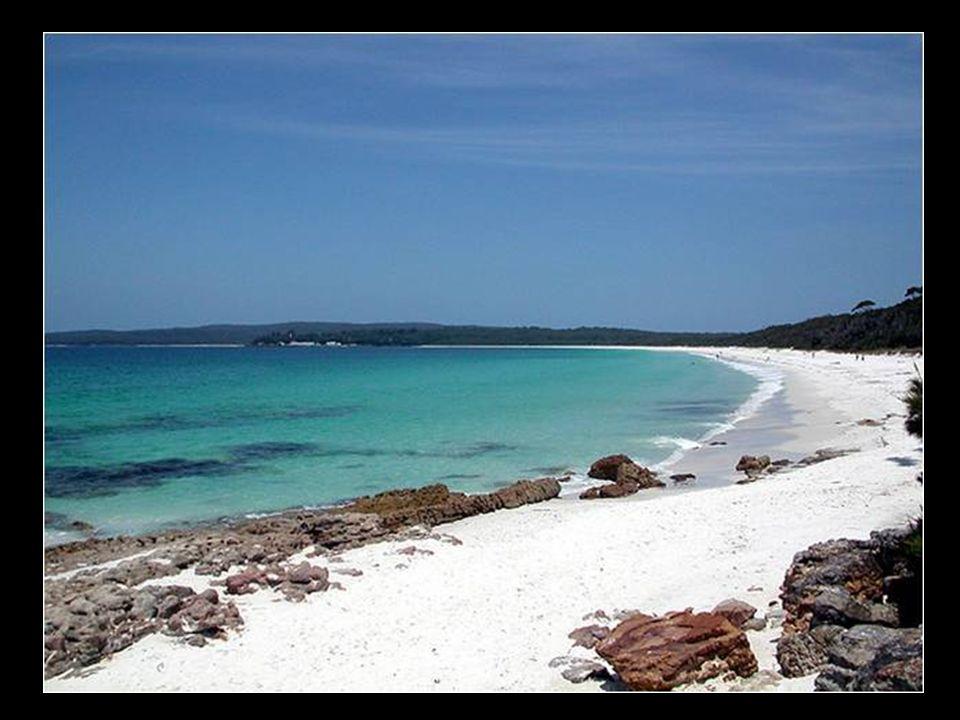 Praia de areia branca na Australia (Hyams Beach)