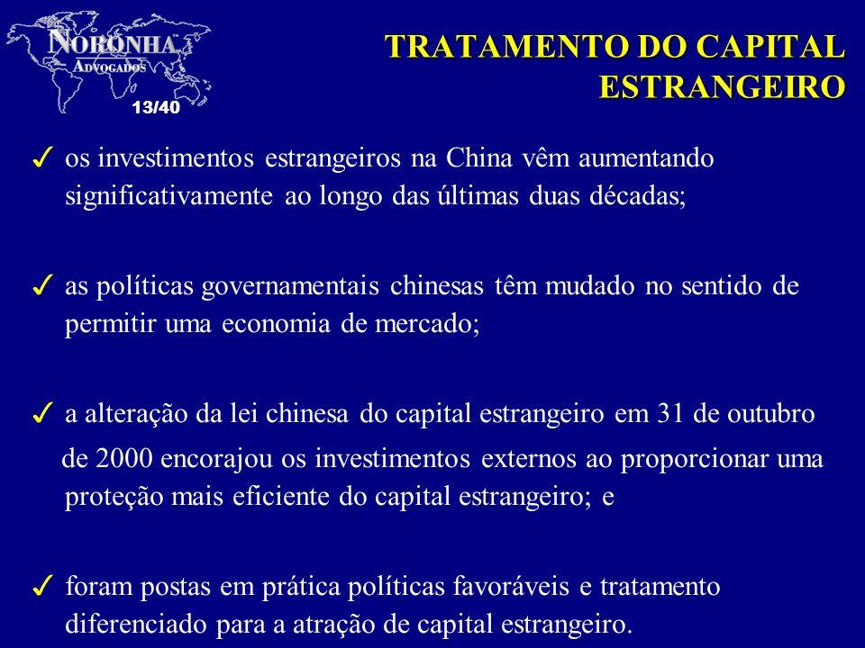 13/40 TRATAMENTO DO CAPITAL ESTRANGEIRO 3os investimentos estrangeiros na China vêm aumentando significativamente ao longo das últimas duas décadas; 3