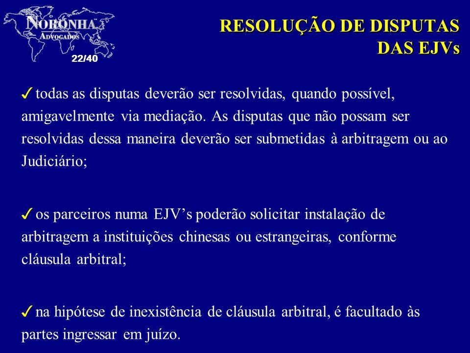 22/40 3todas as disputas deverão ser resolvidas, quando possível, amigavelmente via mediação. As disputas que não possam ser resolvidas dessa maneira