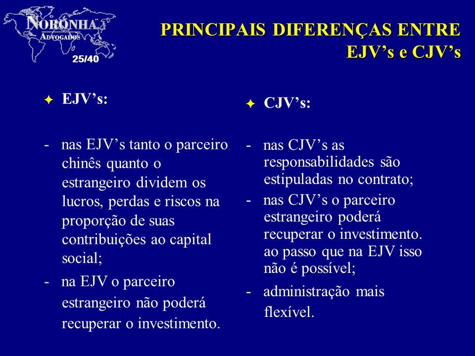 25/40 PRINCIPAIS DIFERENÇAS ENTRE EJVs e CJVs F EJVs: - nas EJVs tanto o parceiro chinês quanto o estrangeiro dividem os lucros, perdas e riscos na pr