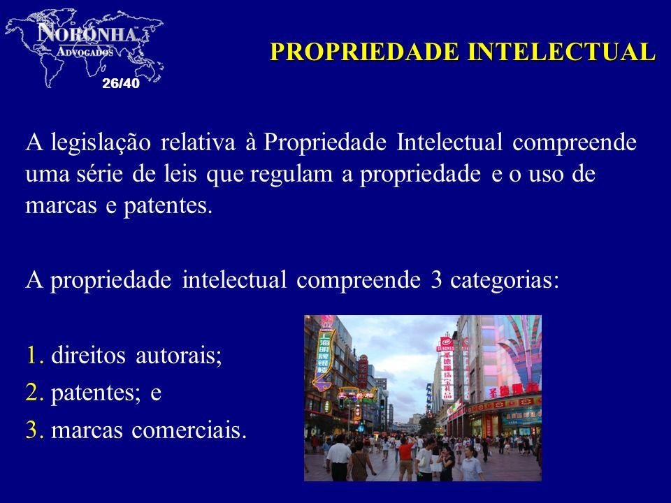 26/40 A legislação relativa à Propriedade Intelectual compreende uma série de leis que regulam a propriedade e o uso de marcas e patentes. A proprieda