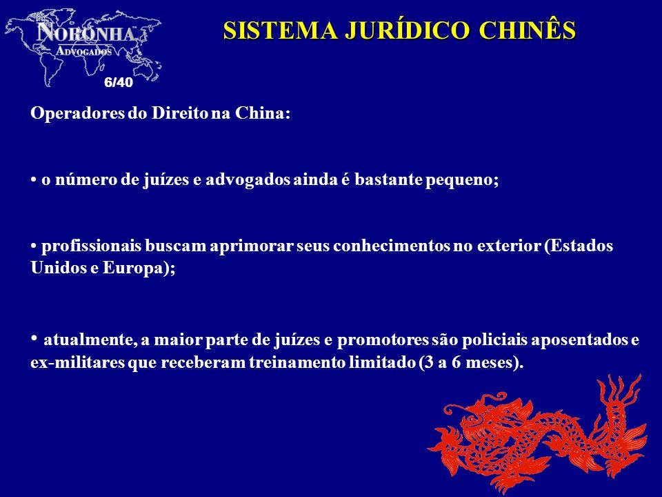 6/40 SISTEMA JURÍDICO CHINÊS Operadores do Direito na China: o número de juízes e advogados ainda é bastante pequeno; profissionais buscam aprimorar s
