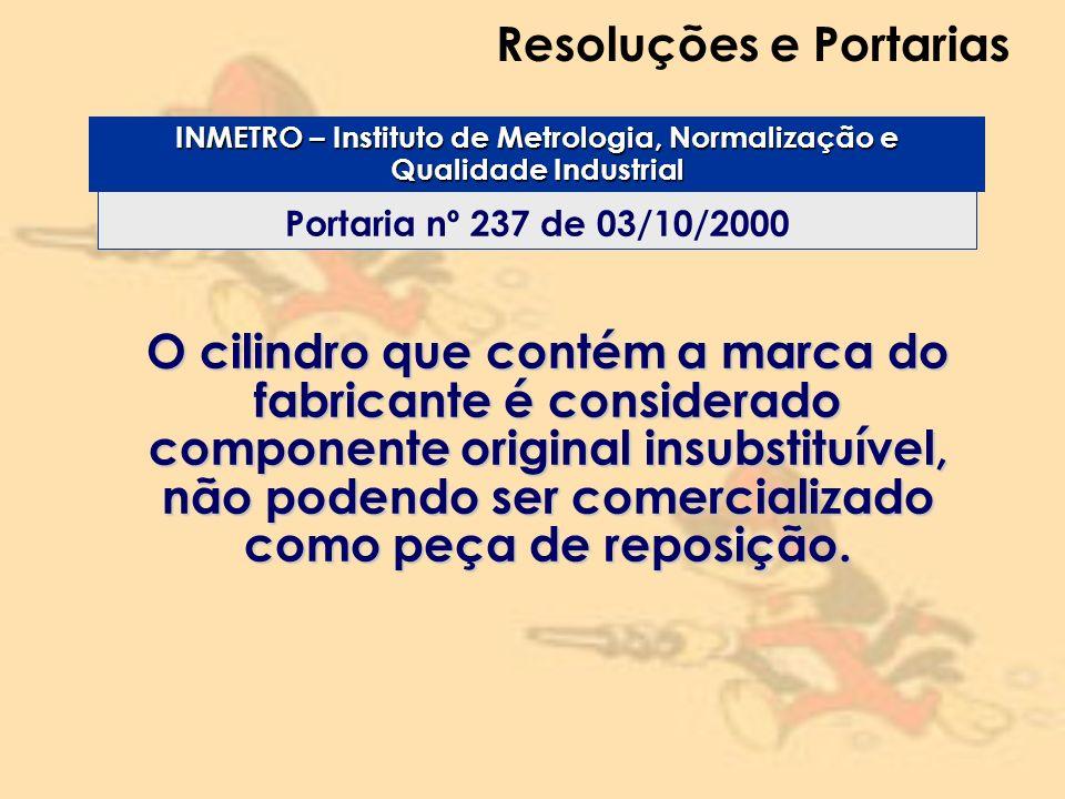 Resoluções e Portarias Portaria nº 237 de 03/10/2000 INMETRO – Instituto de Metrologia, Normalização e Qualidade Industrial O cilindro que contém a ma