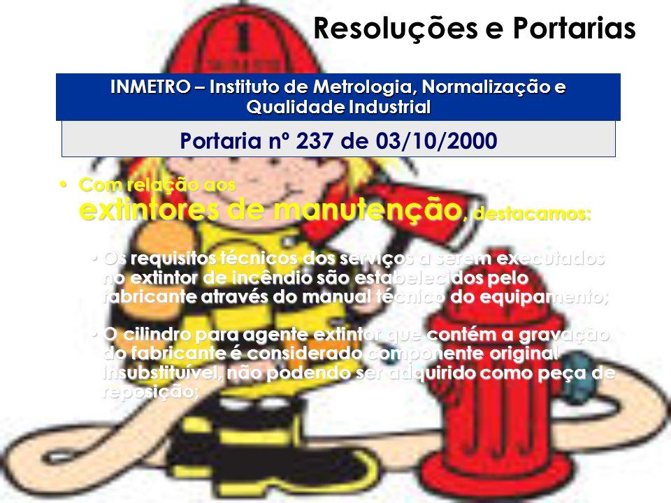 Resoluções e Portarias Portaria nº 237 de 03/10/2000 INMETRO – Instituto de Metrologia, Normalização e Qualidade Industrial Com relação aos extintores