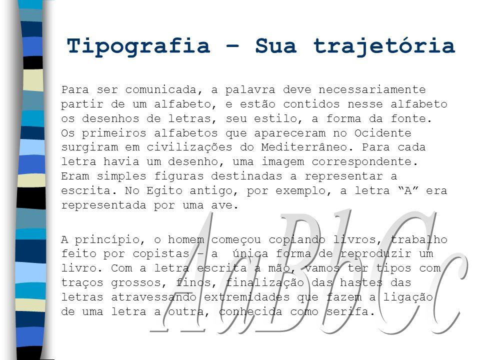 Tipografia – Sua trajetória Para ser comunicada, a palavra deve necessariamente partir de um alfabeto, e estão contidos nesse alfabeto os desenhos de
