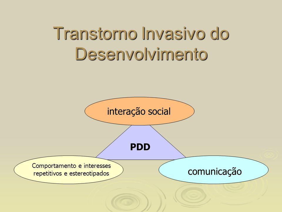 Transtorno Invasivo do Desenvolvimento interação social comunicação Comportamento e interesses repetitivos e estereotipados PDD