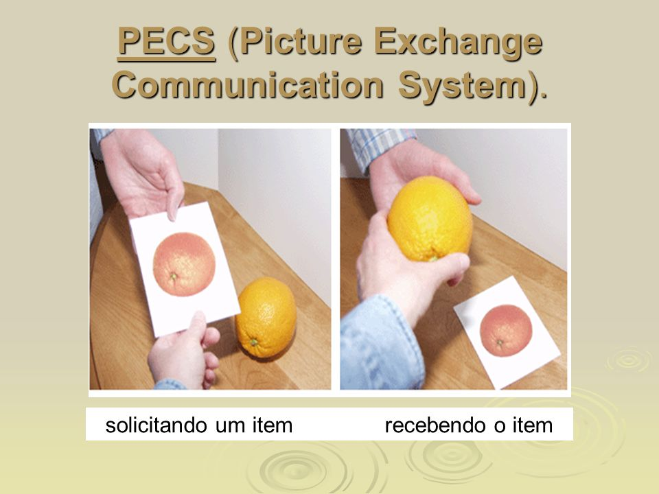 PECS (Picture Exchange Communication System). solicitando um item recebendo o item