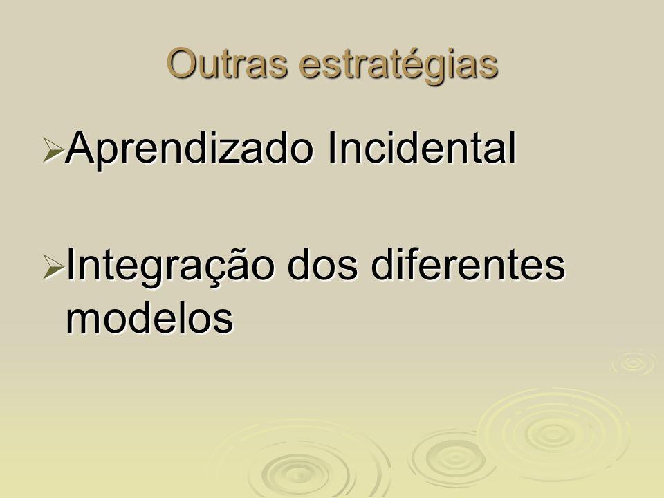 Outras estratégias Aprendizado Incidental Aprendizado Incidental Integração dos diferentes modelos Integração dos diferentes modelos