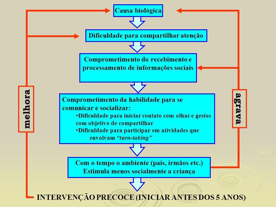 Causa biológica Dificuldade para compartilhar atenção Comprometimento do recebimento e processamento de informações sociais Comprometimento da habilid