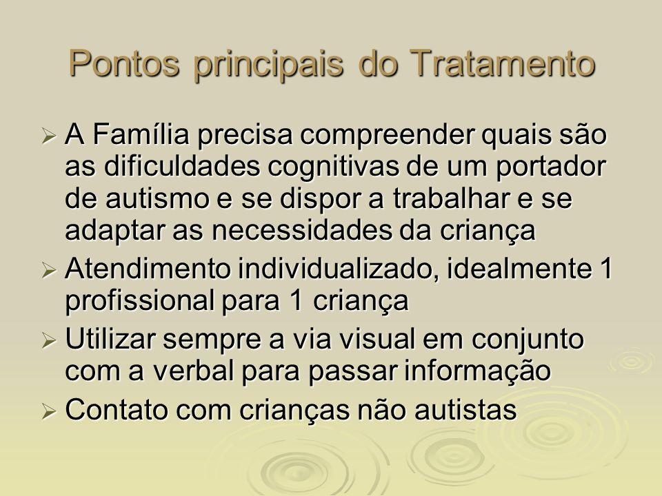 Pontos principais do Tratamento A Família precisa compreender quais são as dificuldades cognitivas de um portador de autismo e se dispor a trabalhar e