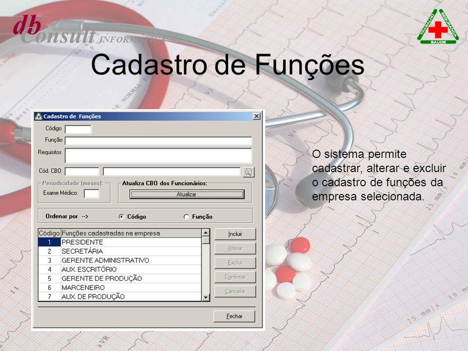 db Consult Cadastro de Funções O sistema permite cadastrar, alterar e excluir o cadastro de funções da empresa selecionada. INFORMÁTICA