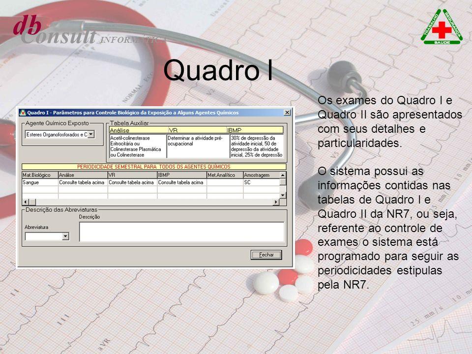 db Consult Quadro l Os exames do Quadro I e Quadro II são apresentados com seus detalhes e particularidades. O sistema possui as informações contidas