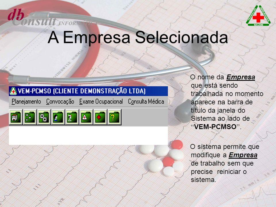 db Consult A Empresa Selecionada O nome da Empresa que está sendo trabalhada no momento aparece na barra de título da janela do Sistema ao lado de VEM
